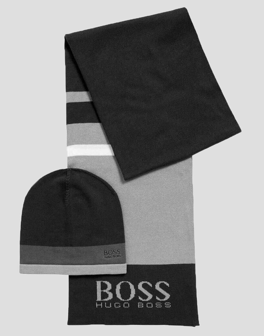 BOSS Green Gift-boxed scarf and beanie in knitted fabric