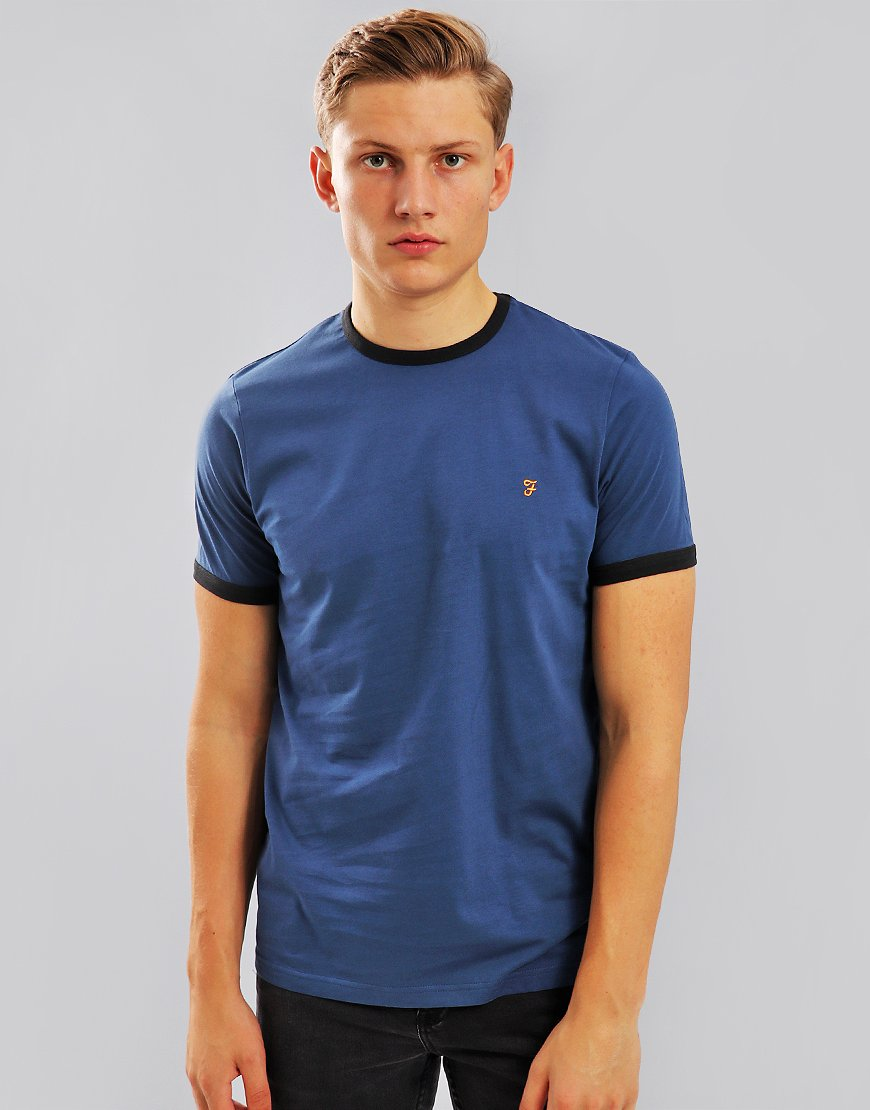 Farah Groves Ringer T-Shirt Bobby Blue