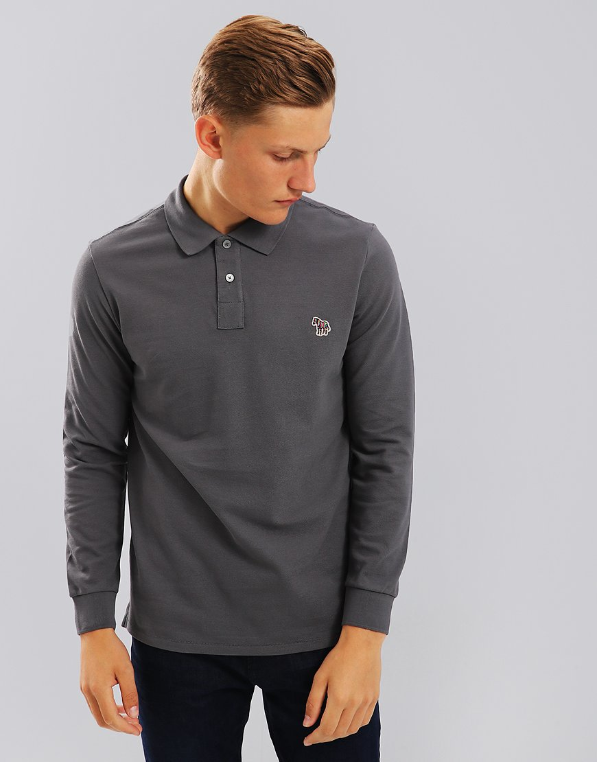 Paul Smith Long Sleeve Polo Shirt Anthracite