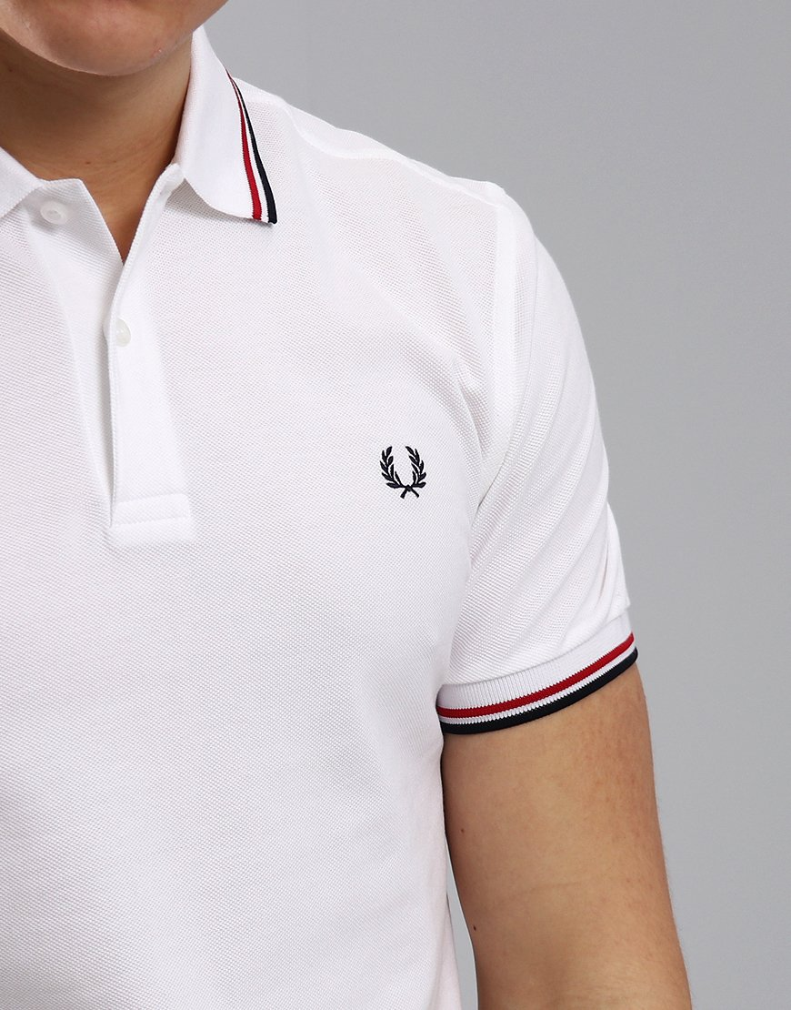 e6f8cdc80 Fred Perry Twin Tipped Polo Shirt White/Red/Navy - Terraces Menswear