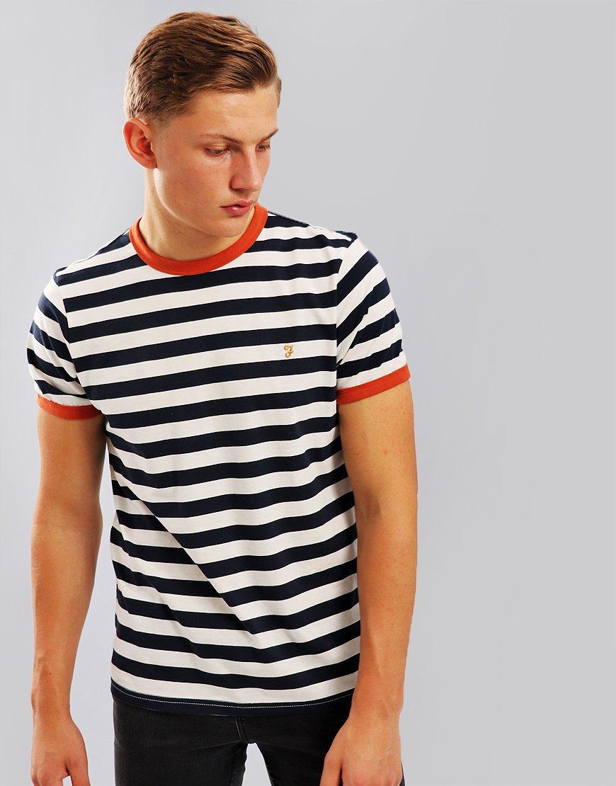Farah Belgrove Stripe T-Shirt Navy