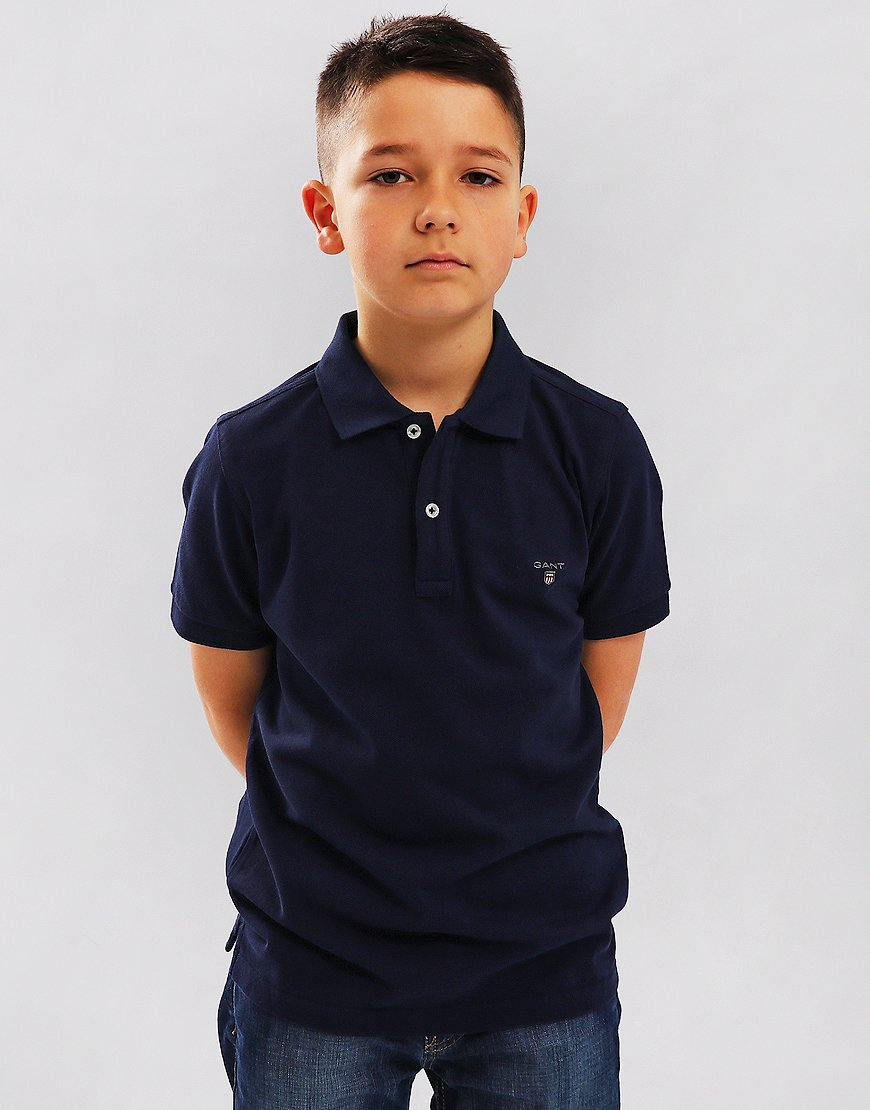 Gant Kids Pique Polo Shirt Evening Blue