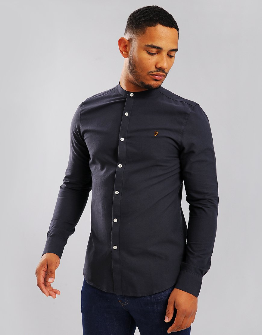 Farah Brewer Slim Grandad Shirt Navy