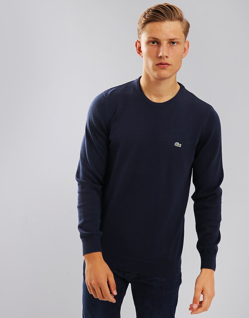 90dd879caf Lacoste Cotton Crew Knit Navy - Terraces Menswear