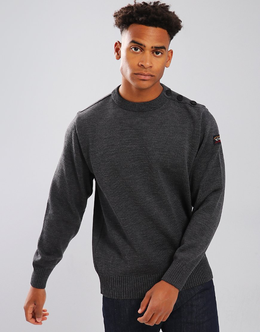 Paul & Shark Button Vent Crew Neck Jumper Charcoal