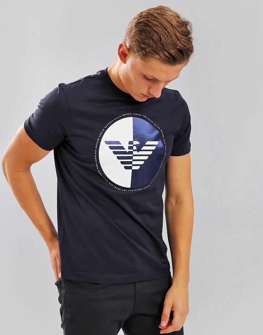 Emporio Armani Half Logo Print T-Shirt Navy