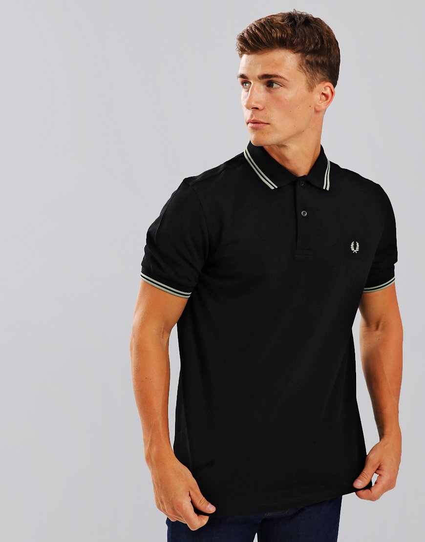 Fred Perry Twin Tipped Polo Shirt Black/Pale Olive