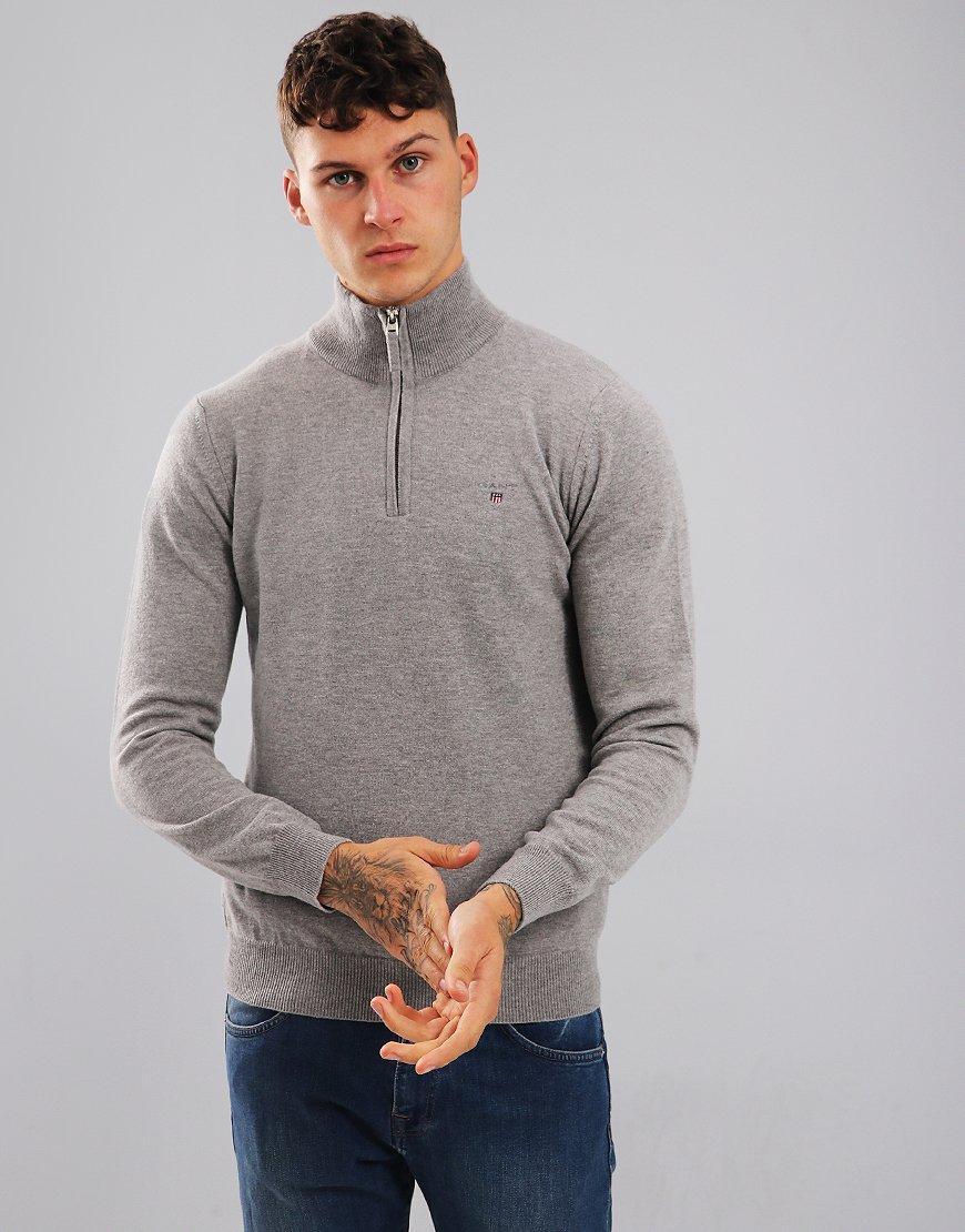 Gant Super Fine Lambswool Half Zip Jumper Grey