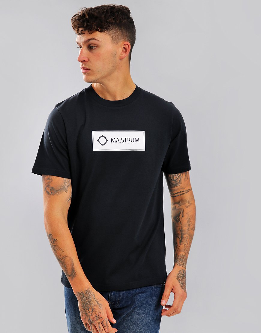 MA.Strum Icon Box Print Logo T-Shirt Navy