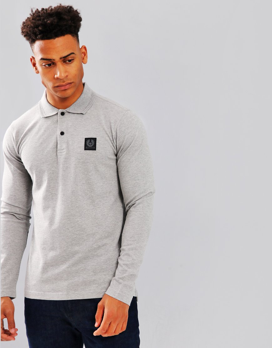 Belstaff Selbourne Long Sleeve Polo Shirt Grey