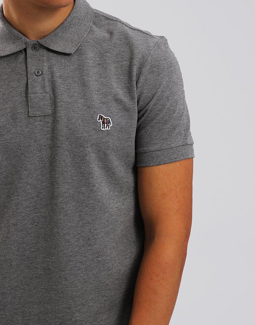 Paul Smith Zebra Logo Polo Shirt Grey Melange