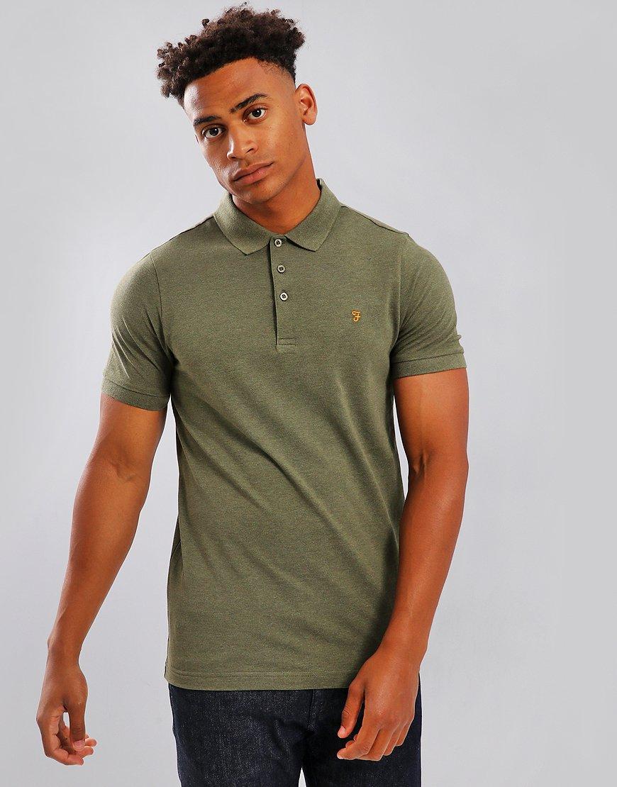 Farah Blaney Polo Shirt Vintage Green Marl