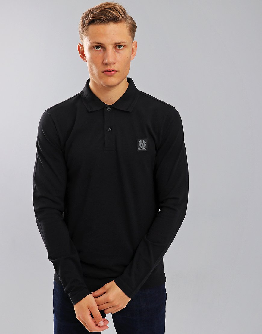 Belstaff Selbourne Long Sleeve Polo Shirt Black