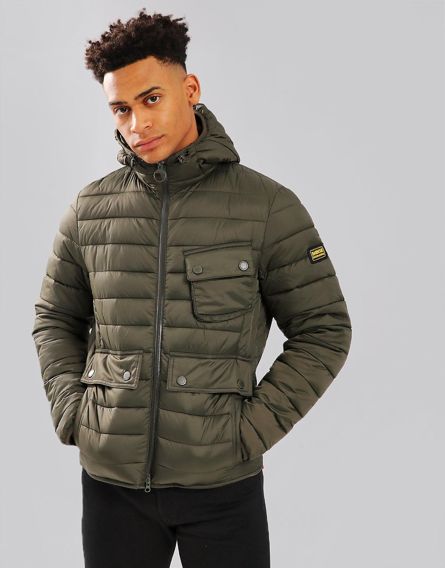 Barbour International Ouston Hooded Quilt Jacket Olive