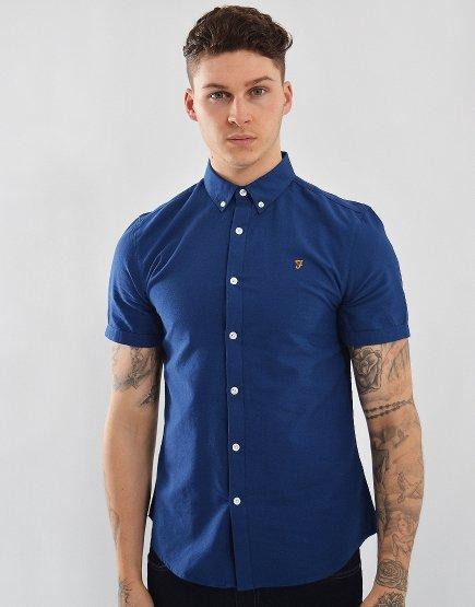 Farah Short Sleeved Brewer Slim Fit Shirt Regatta Blue