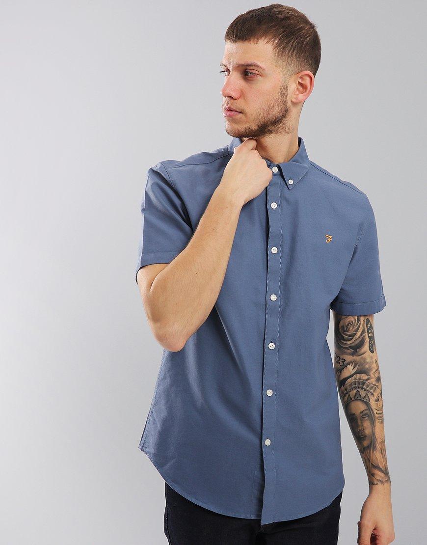 Farah Short Sleeved Brewer Slim Fit Shirt Cornflower Blue