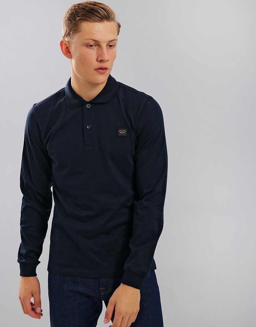 Paul & Shark Long Sleeve Polo Shirt Blue