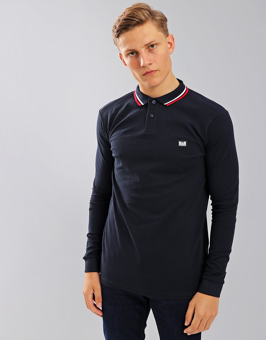 Weekend Offender Ibanez Long Sleeve Polo Shirt Navy