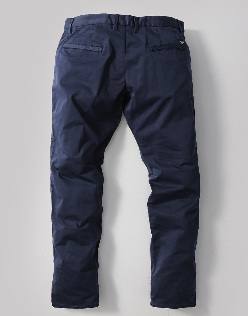 Emporio Armani Regular Fit Stretch Cotton Canvas Trousers in Navy