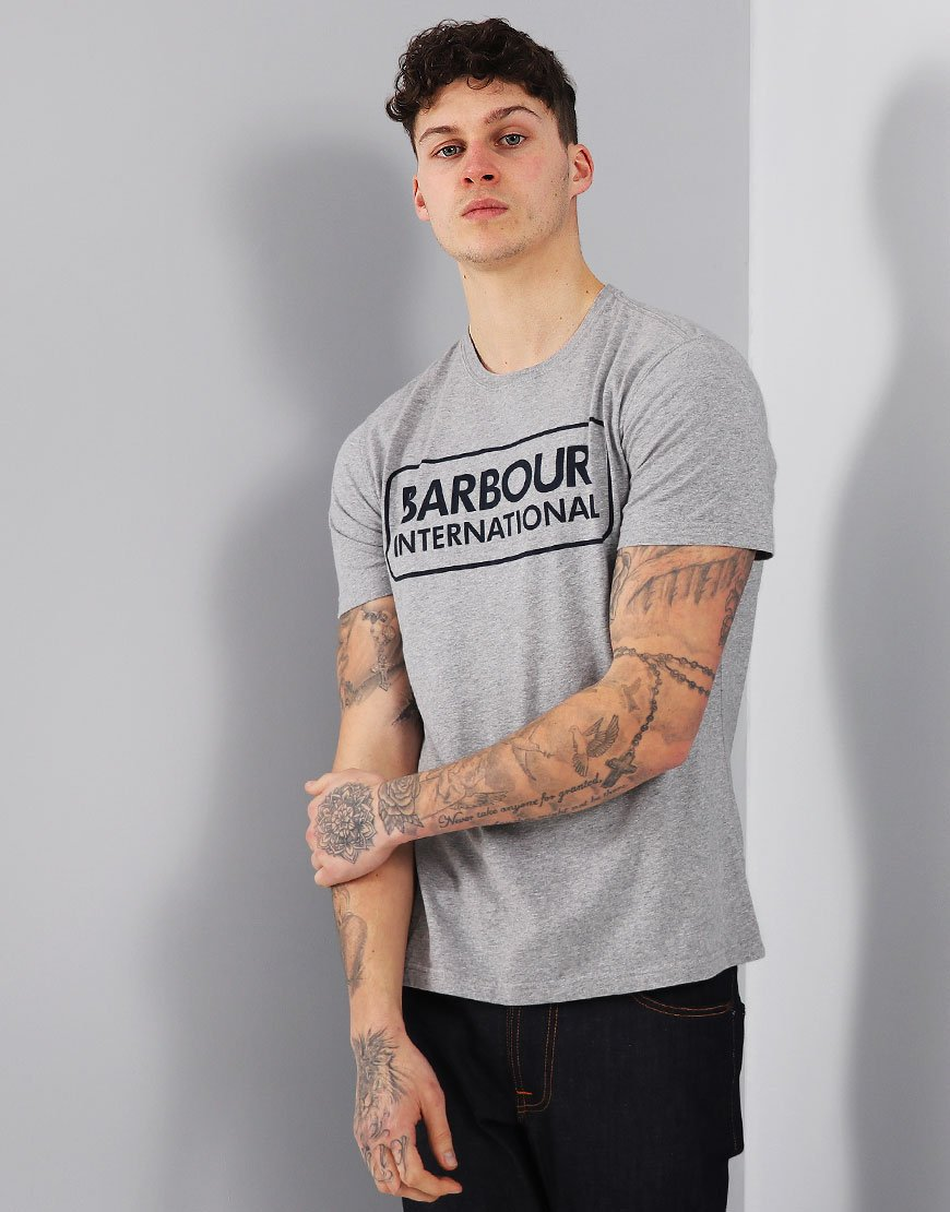 Barbour International Essential Large Logo T-Shirt Grey Marl