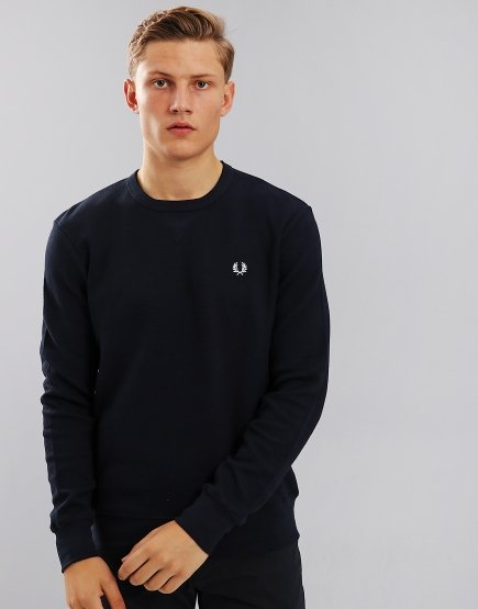 Fred Perry Pique Crew Neck Sweat Blue Granite