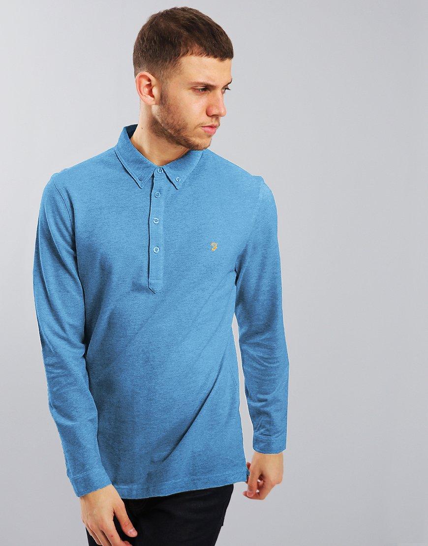 Farah Merriweather Long Sleeved Polo Shirt Saxe Blue