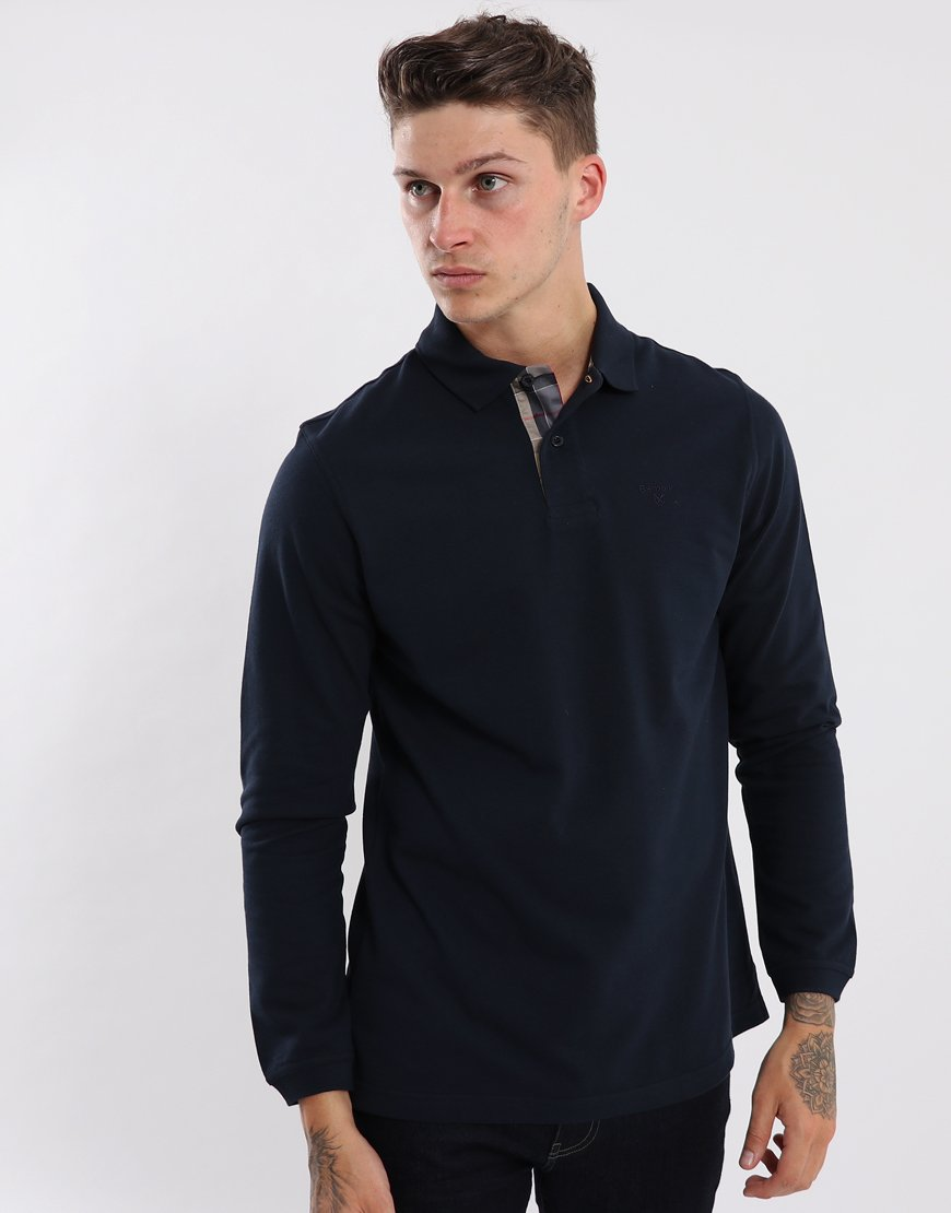 Barbour Long Sleeved Sports Polo Shirt  Navy