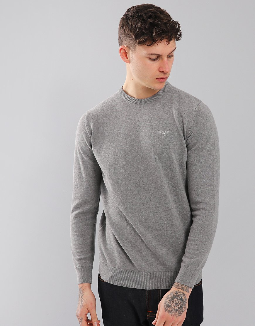 Barbour Pima Cotton Crew Neck Knit Grey