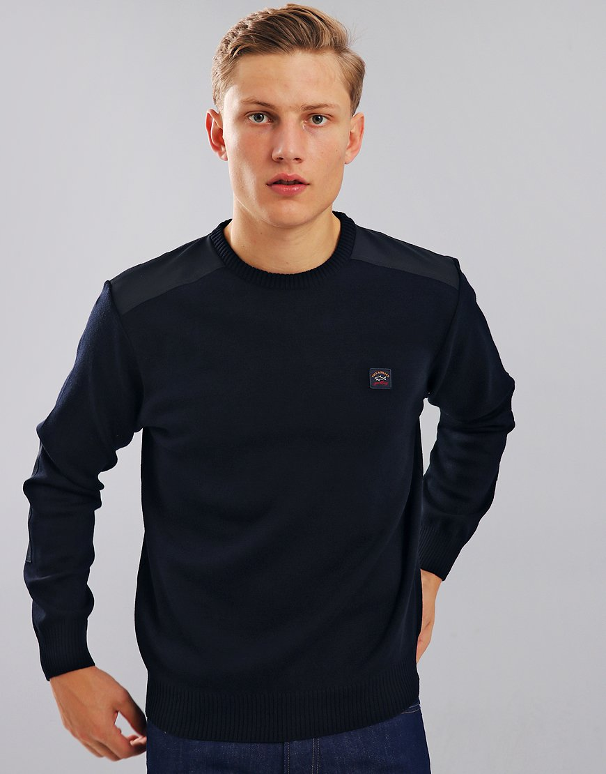 Paul & Shark Contrast Panel Crew Neck Jumper Blue