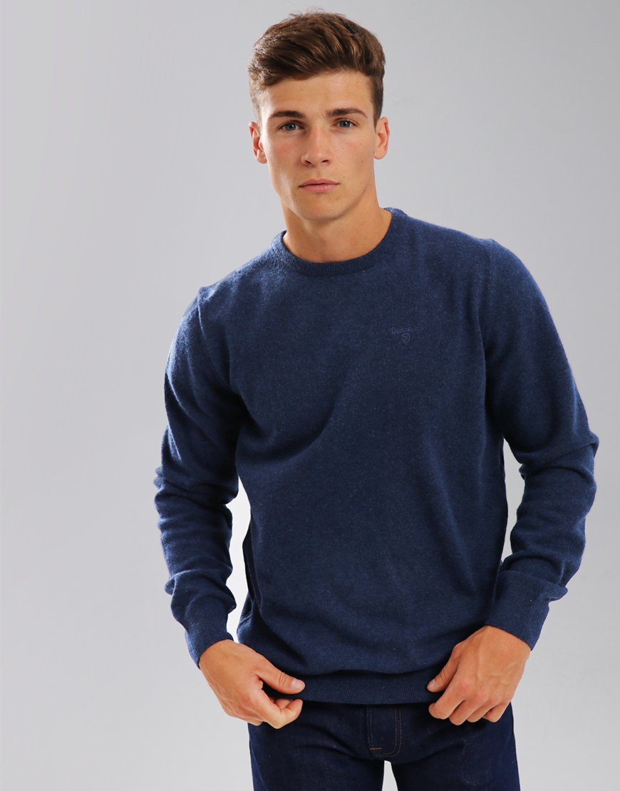 Barbour Essential Lambswool Crew Neck Knit Deep Blue