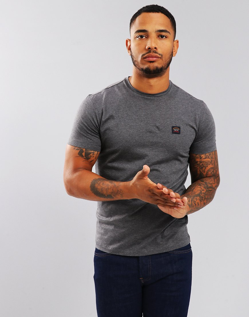 Paul & Shark Logo Patch Crew T-Shirt Grey