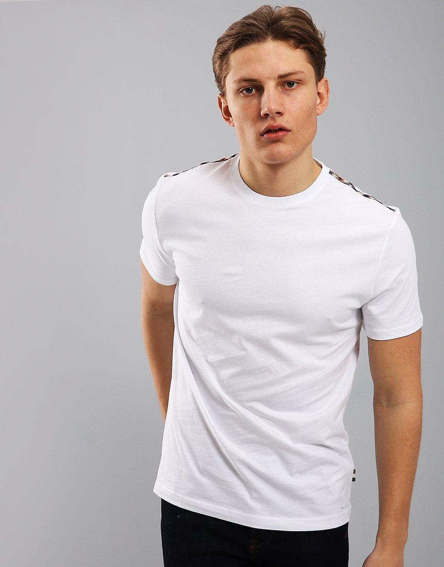 Aquascutum Southport Club Check Trim T-Shirt White