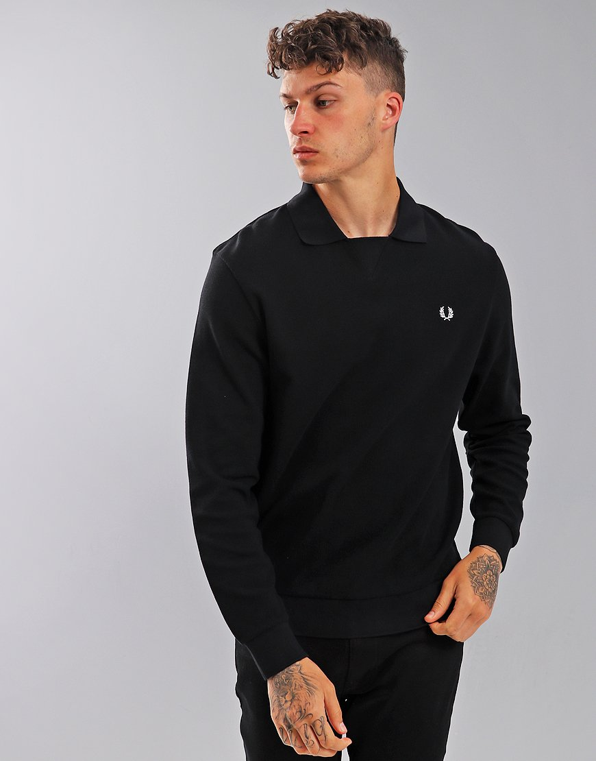 Fred Perry Waffle Textured Sweat Top Black