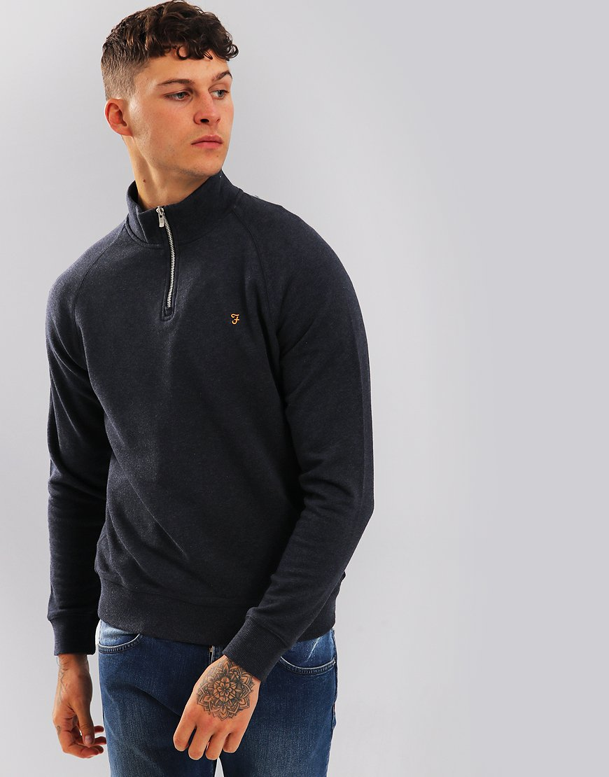 Farah Jim Quarter Zip Sweat Navy Marl