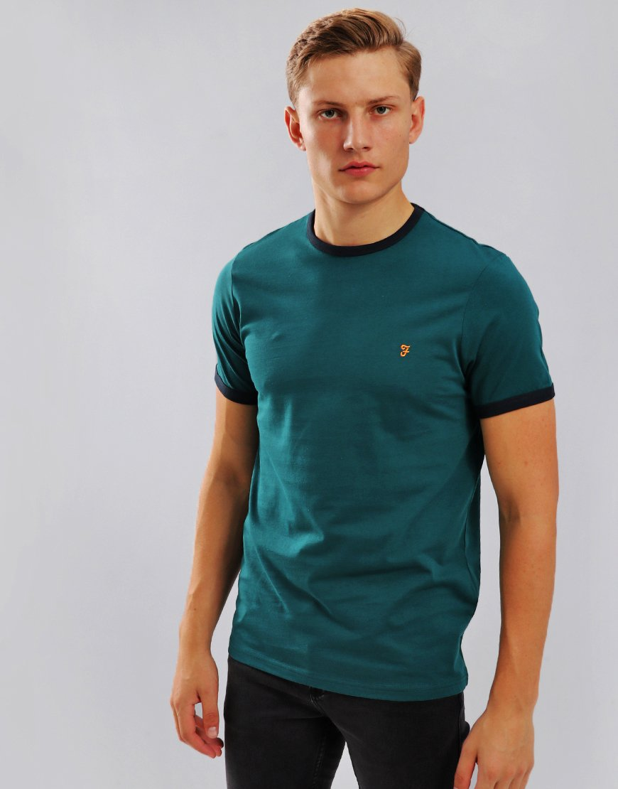 Farah Groves Ringer T-Shirt Dark Teal
