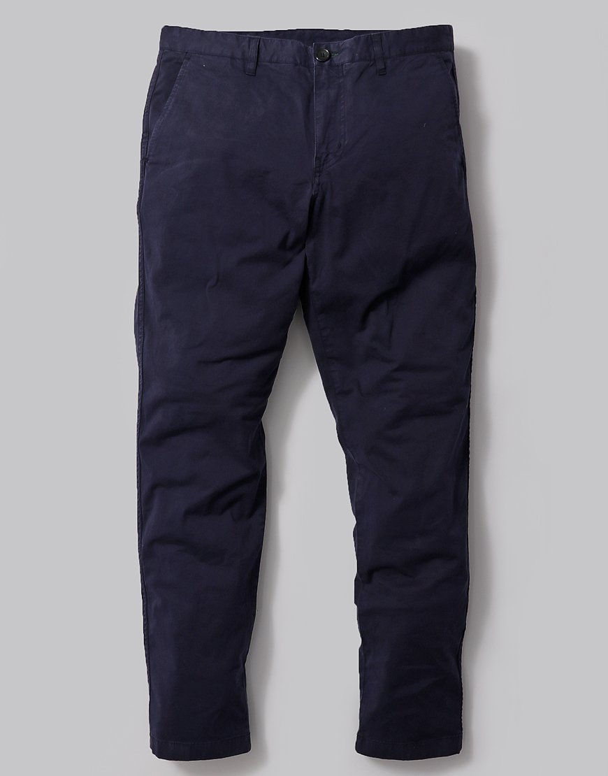 Paul Smith Tapered Fit Stretch Pima Cotton Trousers in Navy