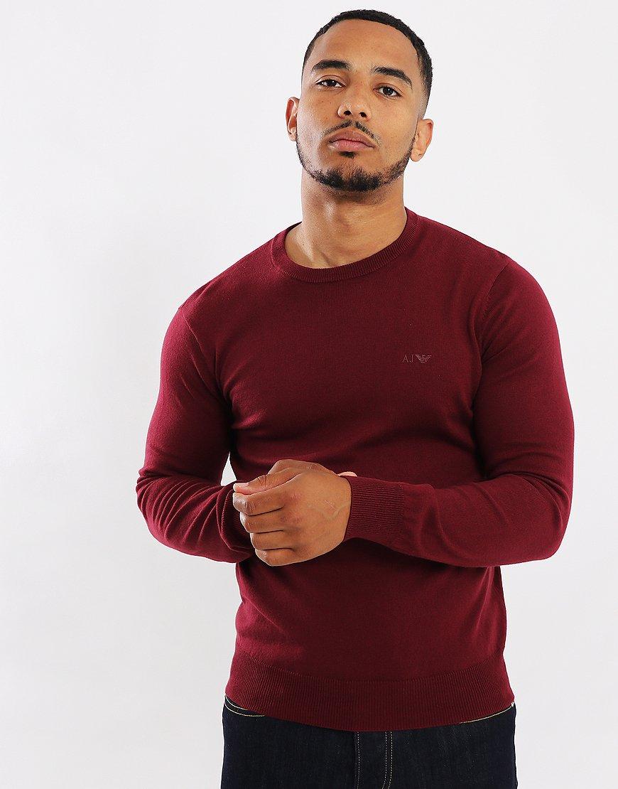 Armani Jeans Cotton/Wool Crew Knit Bordeaux