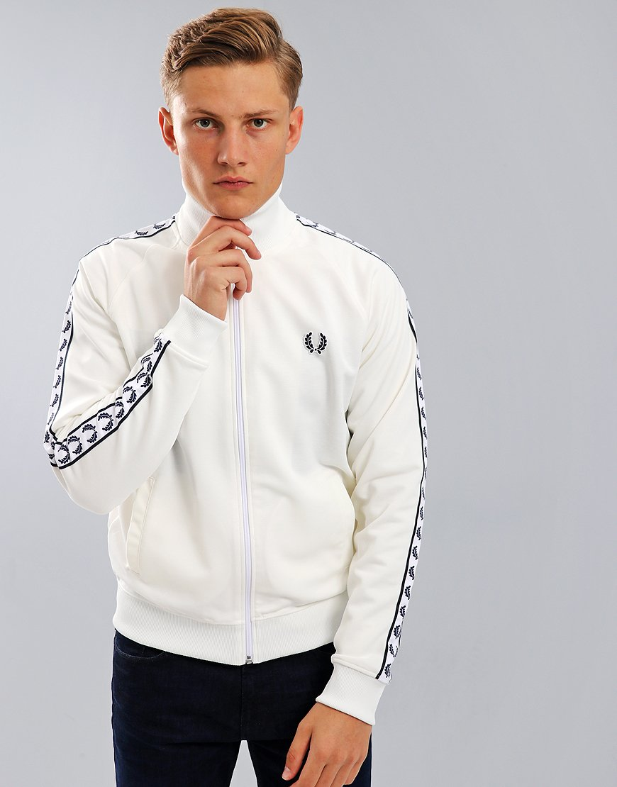 Fred Perry Laurel Wreath Tape Track Jacket   Snow White