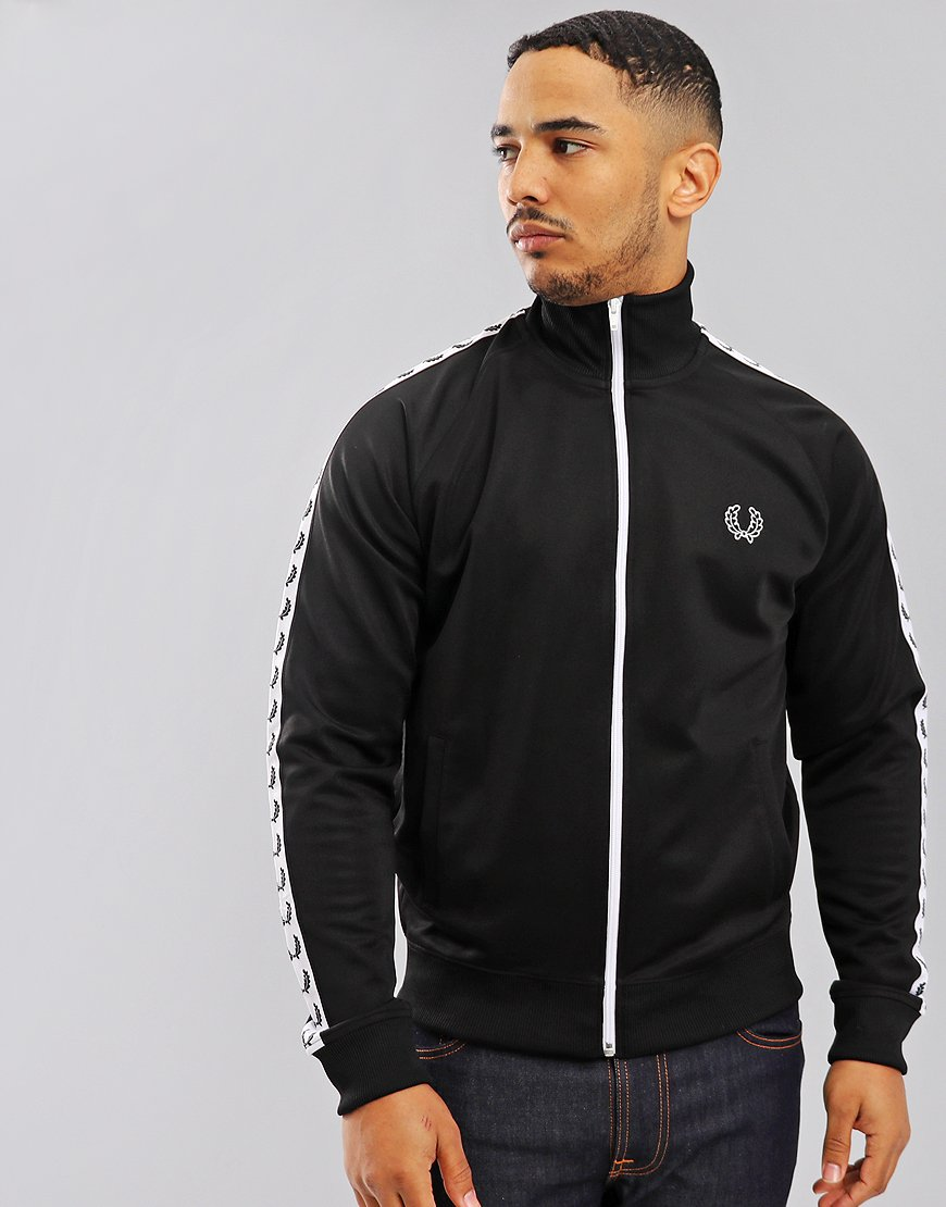 fc33ae3d7 Fred Perry Laurel Wreath Tape Track Jacket Black - Terraces Menswear