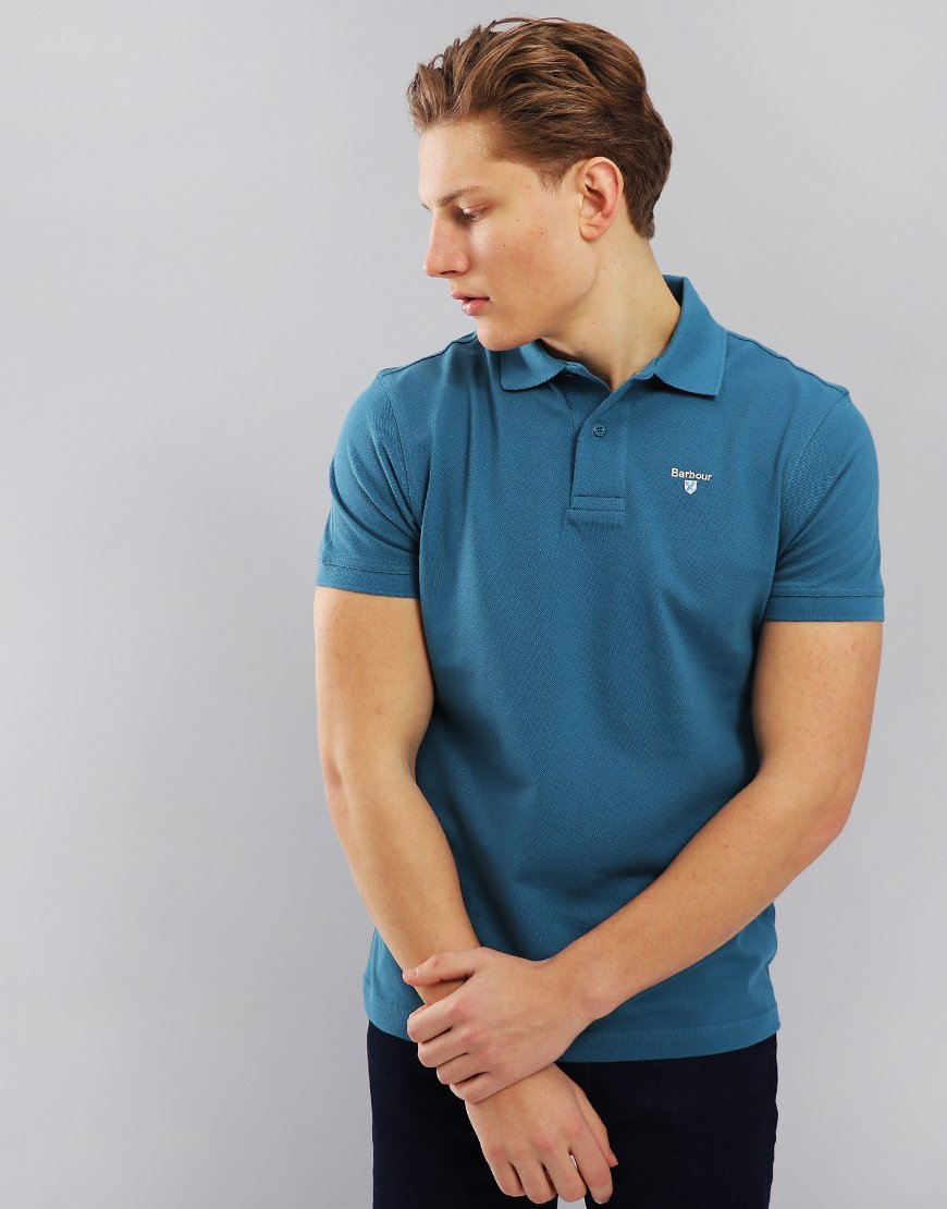 Barbour Sports Polo Shirt Blue Steel
