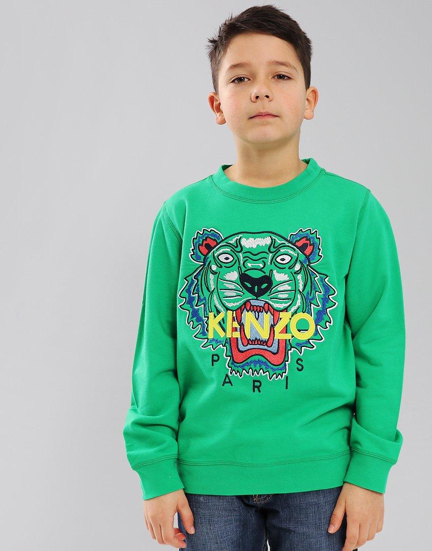 Kenzo Kids Tiger Logo JB3 Sweatshirt Green