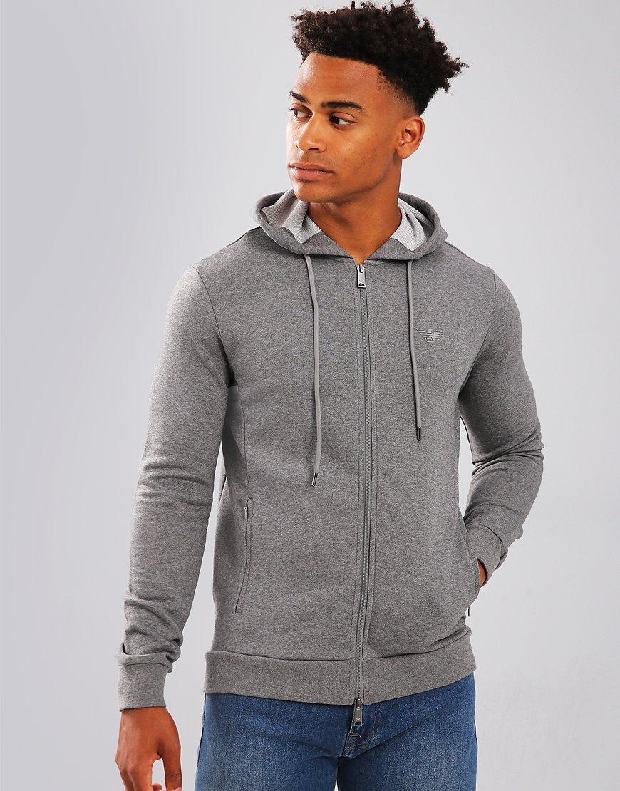 Emporio Armani Full Zip Hoodie Medium Grey Melange