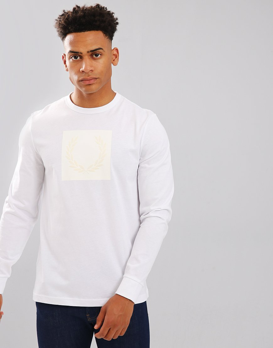Fred Perry Long Sleeved Printed Tonal Laurel Wreath T-Shirt White