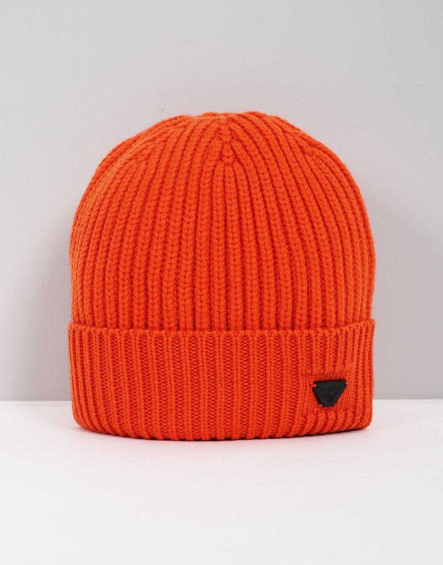 Armani Jeans Ribbed Beanie Orange
