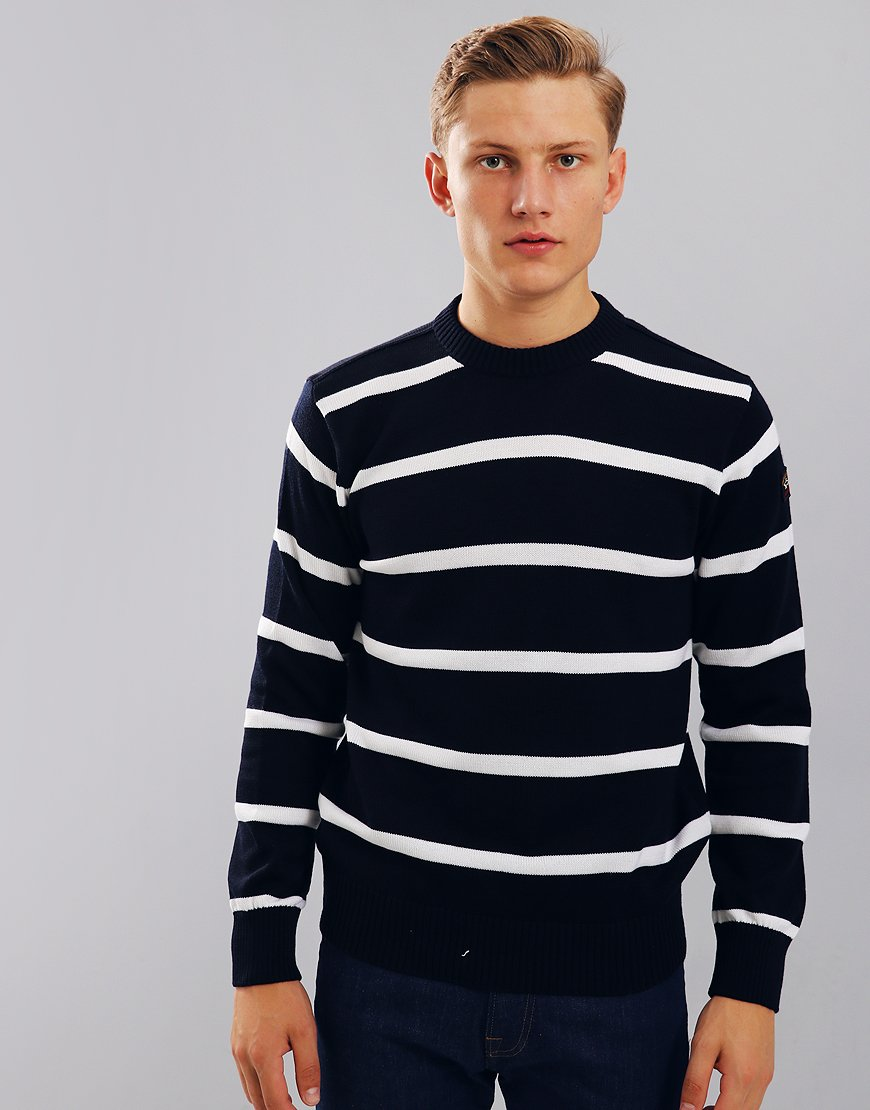 Paul & Shark Breton Crew Neck Jumper Blue/Cream