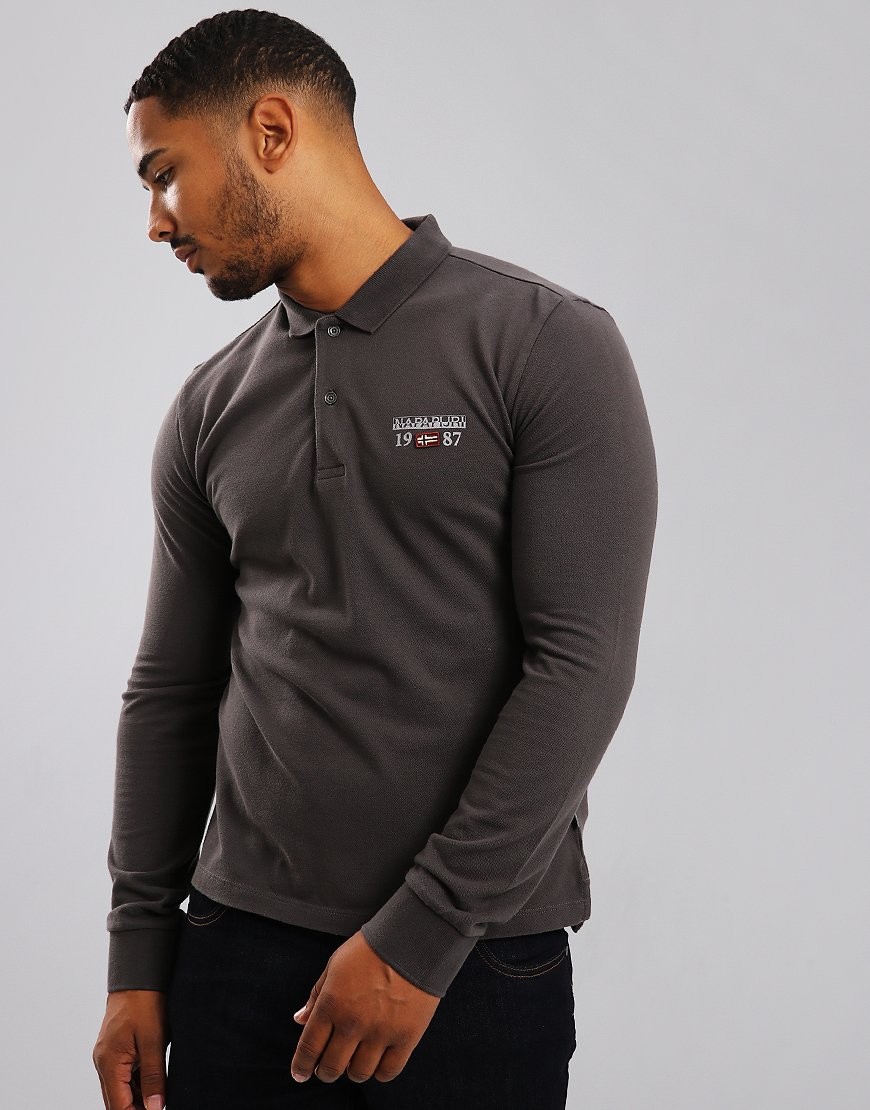 Napapijri Long Sleeve Erthow Polo Shirt Dark Grey Solid