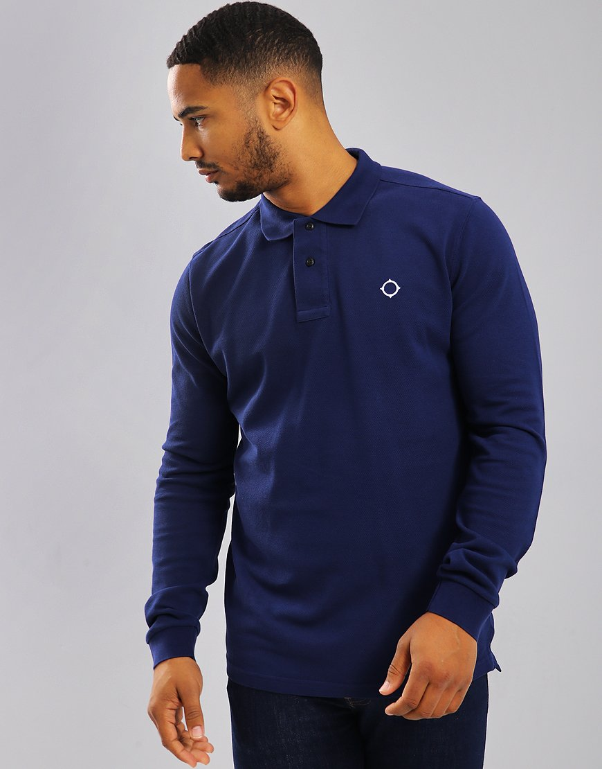 MA.Strum Long Sleeve Polo Shirt Indigo