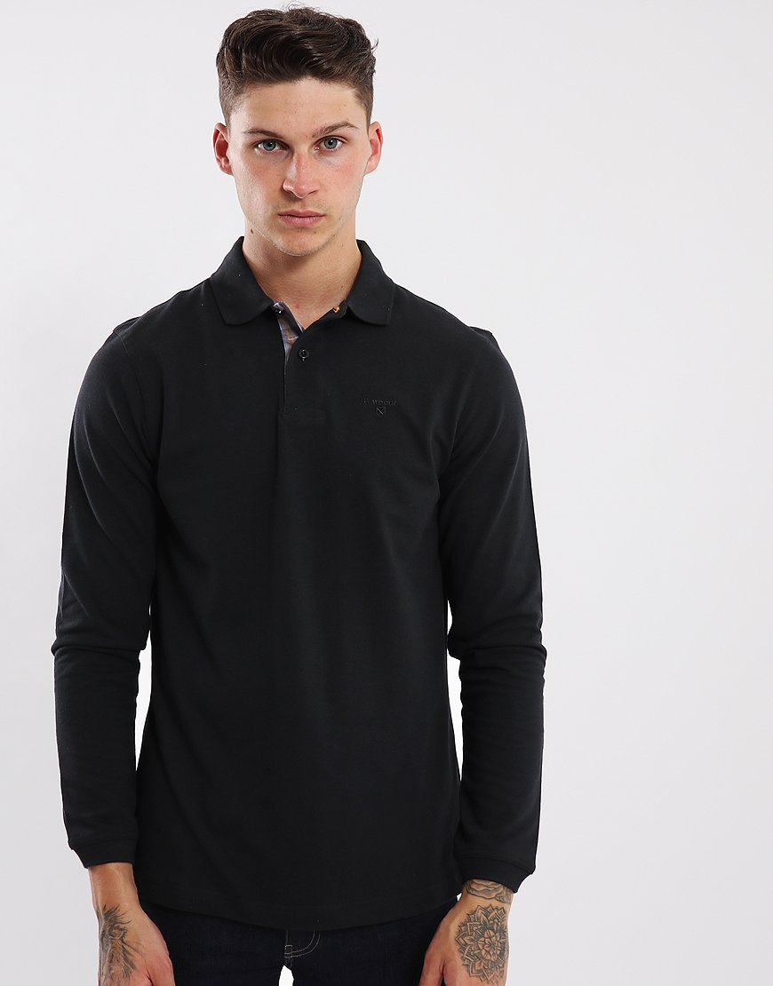 Barbour Long Sleeved Sports Polo Shirt  Black