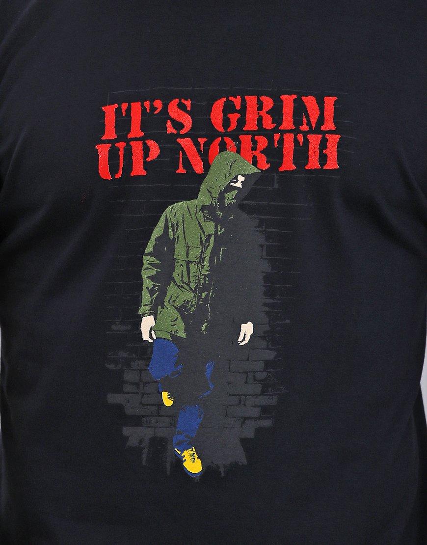 Eighties Casuals Grim Up North T-Shirt  Navy