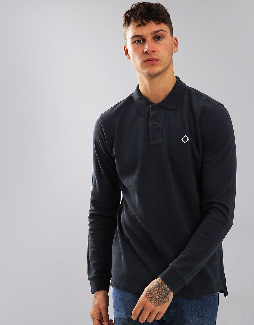 MA.Strum Long Sleeve Polo Shirt Navy